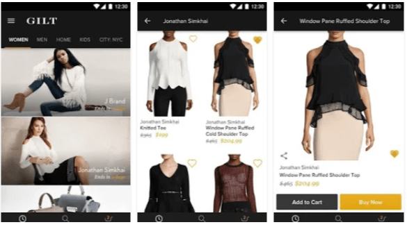 applicazioni shopping online Gilt - App Android