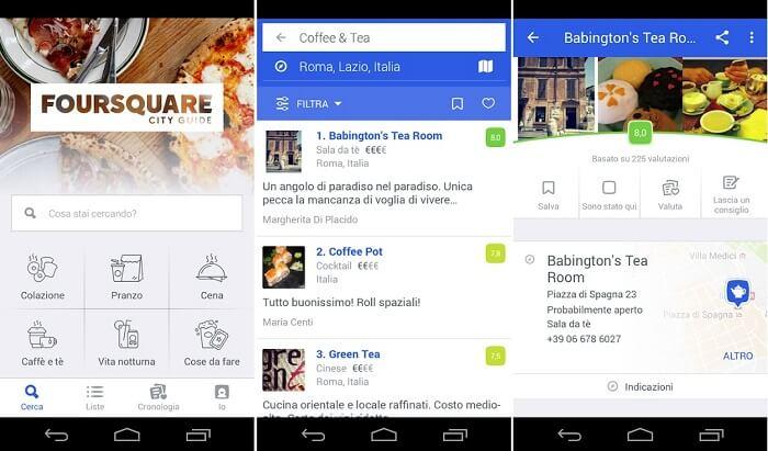 foursquare app per ristorante