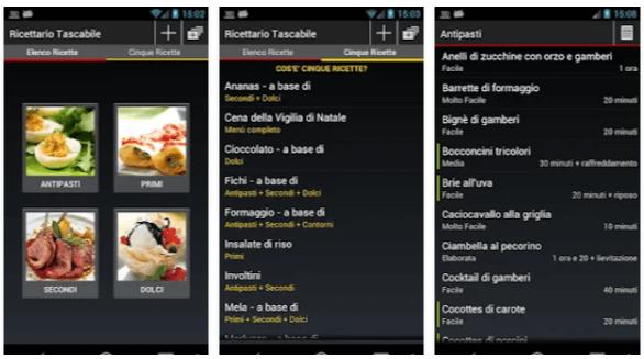 app per ricette di cucina Ricettario Tascabile
