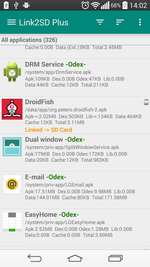 spostare app su sd con link2sd