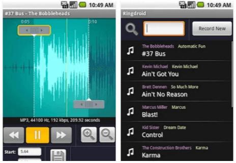 App per suonerie personalizzate Ringdroid