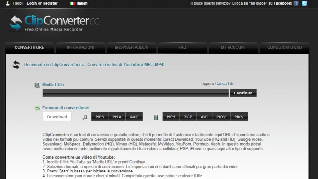 clipconverter scarica video da youtube