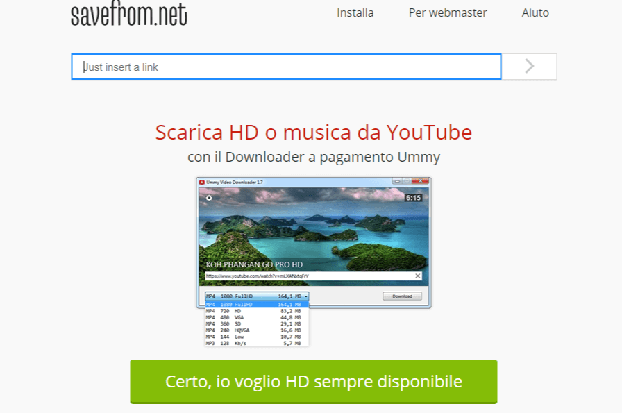 savefrom app per scaricare video youtube