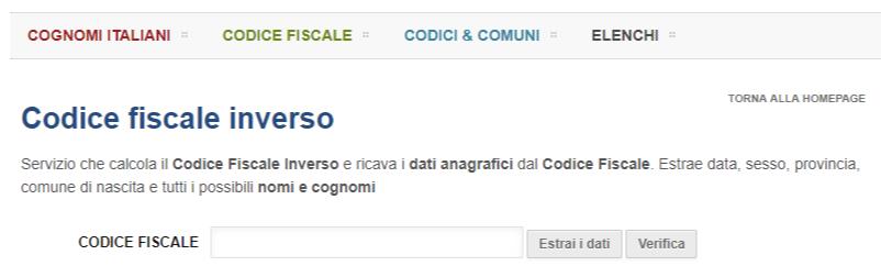Codice fiscale inverso CodiceInverso.it